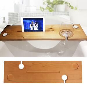 Wooden Bath Caddy Tray Bathtub Board Bath Shelf Wine Tablet Holder Light Oak