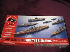 Airfix 1:1200 SINK THE BISMARCK SET, 7 waterline model ship kits A50120 Bismark