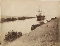 Egitto Bocchino Canale Lac Timsah Vintage Albumina Ca 1875
