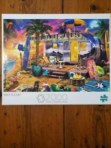 NEW 2000 Piece BEACH HOLIDAY Buffalo Games COLORFUL Jigsaw Puzzle w/ POSTER