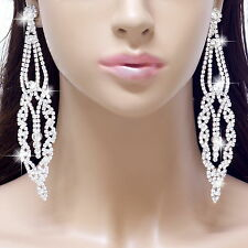 "#E121T 5"" Long CLIP ON EARRINGS Teardrop Clear Crystal Chandelier Wedding Prom"