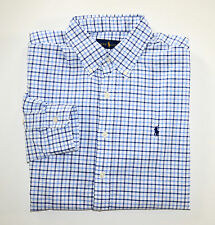 NWT Men's Ralph Lauren Casual Long-Sleeve Oxford Shirt, Blue, White L, Large