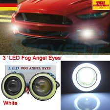 2x 3inch /76mm  LED Glasprojektor Nebelscheinwerfer COB LED Angel Eyes TUV / VDE