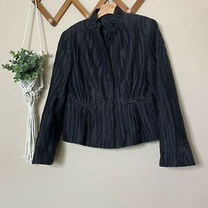 Lafayette 148 Black Pleated Silk Blend Button Up Jacket Pockets Size 6 Womens