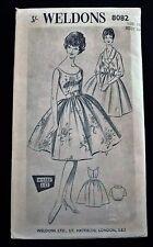 VINTAGE 1950s WELDONS 8082 MISSES' ONE-PIECE DRESS 2 BODICES & BELT –  SIZE 12