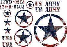 Jeep U.S. Army Star American Flag Decal Kit Wrangler Cherokee Rubicon Liberty