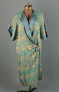 VTG Women's 20s AS IS Blue & Brown Drop Waist Style Brocade Robe Sz S 1920s