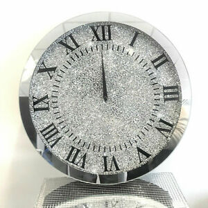 Large 35x35 Sparkly Silver Crushed Diamond Crystal Mirrored Wall Clock Round