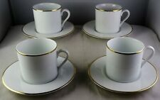 Set Of 4 Tiffany & Co. Espresso Demitasse Cup & Saucer Sets White With Gold Trim