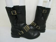 JESSICA SIMPSON Black Leather Studded Harness Biker Boots Womens Size 6