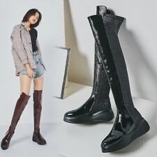 Women's Real Leather Round Toe Over Knee High Boots Wedge Mid Heels Riding Shoes