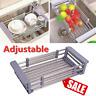 Stainless Steel  Dish Rack Kitchen Sink Drainer Washing Up Draining Holder Tray