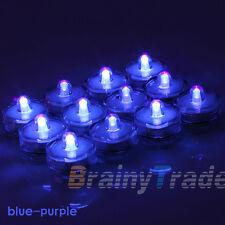 12x LED Tea Light Candles FLAMELESS Wedding blue purple Waterproof Battery Vase