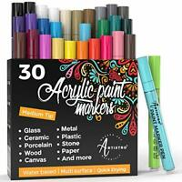 Acrylic Paint Pens – 30 Acrylic Paint Markers Medium Tip (2mm) - Great for