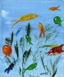 Tropical Fish (a) - Original Acrylic on Canvas - Graeme Dixon (10x12 Inch) 2008