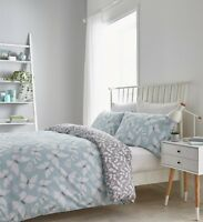 Catherine Lansfield Butterfly Cotton Rich Duvet/Quilt Cover Bedding Set Duck Egg