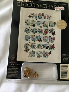 """Dimensions Floral Alphabet Cross Stitch Kit 72426 Charts and Charms 12x16"""" NEW"""