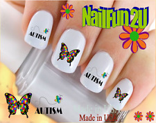 24 Nail Decals #6513 Autism Awareness Puzzle Butterfly Waterslide Nail Transfers