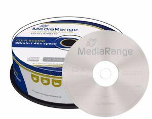 25 MediaRange Branded CD R 48x 90 mins 800MB blank CD-R discs 90 minutes MR221