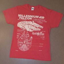 Star Wars Mens T Shirt Medium Classic Millennium Falcon Schematics Graphic Red