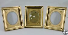 VINTAGE HEAVY BRASS CONVEX BUBBLE GLASS SMALL PICTURE FRAME LOT OF 3