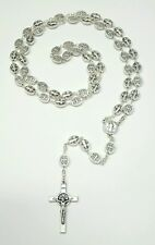 Silver Tone Italian St. Benedict Medal Cross Rosary-Blessed by Pope upon request