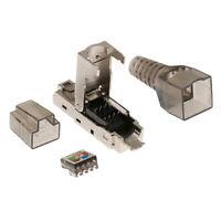 Nickel Blindé RJ45 Cat7 / CAT6A Modular Plug Connecteur avec Capuchon de Câble