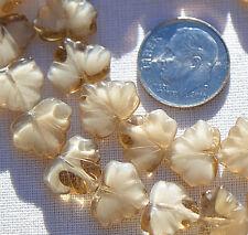 (10) Czech Glass 13x11mm Maple Leaf Beads-Topaz White Mix Opaq Trans CRJ200478