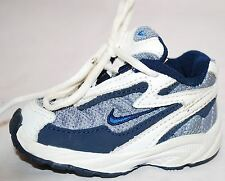 NIKE Infant Baby Boys Shoes - Size 2C - Leather Lace Up Sneakers White & Blue