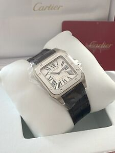 W20106X8 CARTIER SANTOS 100 33MM STAINLESS STEEL AUTOMATIC   WATCH B&P £4500