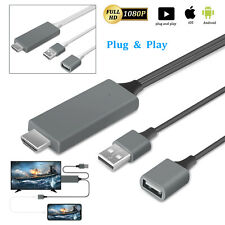 For iPhone 11/XS Max/iPad HDMI Mirroring Cable Phone to Digital TV HDTV Adapter