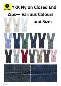 YKK Nylon Closed Zip / 240+ Colours and Sizes Trousers Skirt Dress - GREAT VALUE