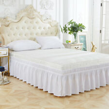 Three Sides Elastic Ruffles Bed Skirt Twin Queen Hotel Wedding Home Decoration