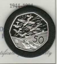 More details for boxed royal mint 1994 standard silver proof d-day 50 pence with certificate