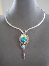 SWAROVSKI AURORE BOREALE TRIPLE CRYSTAL ELEMENTS PENDANT and SCOOP V  NECKLACE