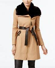 Via Spiga Faux-Fur-Collar Wool-Blend Walker Coat Camel 8 $400 #3-142