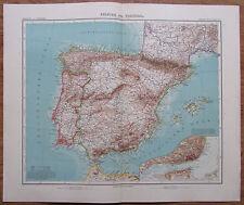 Spanien Portugal - alte Landkarte aus 1906 Iberische Halbinsel old map