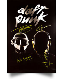 Daft Punk On The Decks Signature Art Print Decor Home Poster Full Size