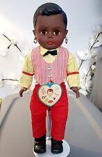 "Vintage 1961 Reliable 16"" Little boy Soda Shop Black AA Baby Doll Canada W/ Tag"