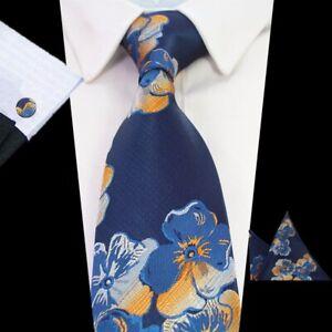 Blue Orange Tie Cufflinks Pocket Square Set Flower Pattern Handmade 100% Silk