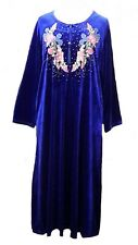 15099 Ladies' knitted  Velvet multi  colour embroidery floral long kaftan (L)