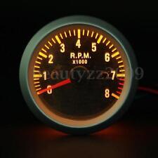 2'' 52mm Rev Tacho Gauge Tachometer 0-8000 RPM Carbon Fiber Face Yellow LED