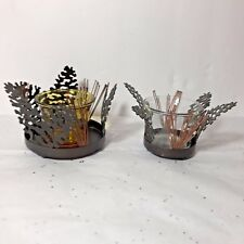 PartyLite Fall Leaves Votive/Tealight Holder Pair (2) Glass Metal Fall EUC