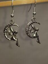 Fairy in Moon Sterling Silver Dangle Earrings