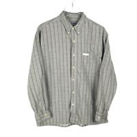 Chaps Ralph Lauren Vintage Shirt Size L Gray Plaid Long Sleeve Flannel Mens