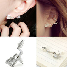 Chic Bow Arrow Stud Earrings Silver Plated Crystal Rhinestone Fashion Jewelry