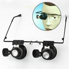 Occhiali Monocolo Doppio Lente d'Ingrandimento Orologiaio 20X con Luce LED
