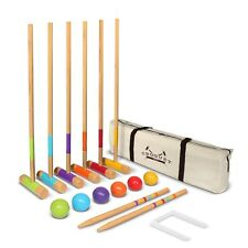 "GoSports Standard Wooden Croquet Set - 27"" Mallets for Kids and Adults"