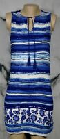 BEACH LUNCH LOUNGE COLLECTION Blue White Patterned Sleeveless Dress XS Unlined