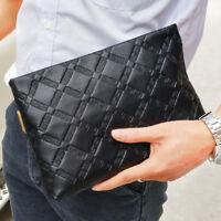 Men's Bag Black Clutch Bag Diamond Pattern Business Handbag Genuine Leather